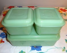 Amazing set of Jadeite!!   I WOULD LOVE some jadeite serving-ware, butter dish, cups/saucers, or mugs!!!  Fire King Jadite Philbe Design Complete Refrigerator Dish Set Jade-ite Green