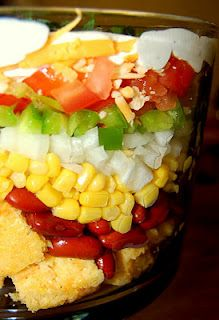 Cornbread Salad-cubed cornbread, pinto beans rinsed & drained, corn drained, green pepper chopped, tomatoes chopped, shredded cheese and topped with - ranch, mayo & buttermilk blended together and poured over top then refrigerate several hours before serving.