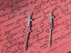 JEWELRY I MAKE!!  Cross Earrings Tibetan Silver Cross Earrings by SpoiledRockN www.etsy.com/shop/SpoiledRockN www.facebook.com/spoiledrocknaccessories