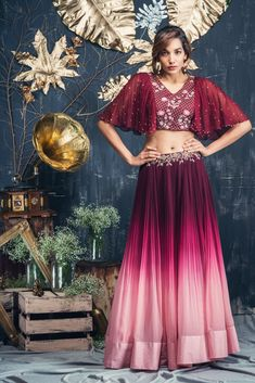 Triple Shaded Floor Length Gown with Bell Sleeves.Made on Order.👗Available in all Sizes.Can customize in any color.Call or DM 📲for price🎀💐 Half Saree Designs, Choli Designs, Lehenga Designs, Blouse Designs, Indian Designer Outfits, Indian Outfits, Designer Dresses, Indian Wedding Outfits, Western Outfits