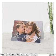 White and Blue Merry Christmas Family Photo Holiday Card