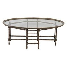 Bronze Tray Top Faux Bamboo Coffee Table