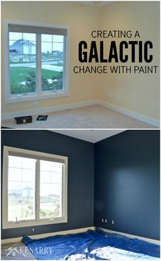 Creating an outer space boys bedroom starts with a huge galactic change in paint color. The walls were transformed from pale yellow with outerspace paint from Sherwin-Williams. Boys Space Bedroom, Outer Space Bedroom, Space Boy, Kid Bedrooms, Boys Room Colors, Boys Bedroom Ideas Tween Wall Colors, Boys Room Paint Ideas, Galaxy Bedroom, Outer Space Decorations