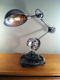 Industrial Desk Lamp Machine Gear Task Light Steampunk Rat Rod Vintage Parts | eBay