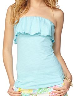 Lilly Pulitzer Wiley Ruffle Tube Top in Spa Blue