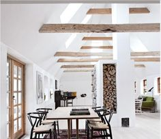 Vaulted ceiling. Wood beams, but I would gray-wash them.