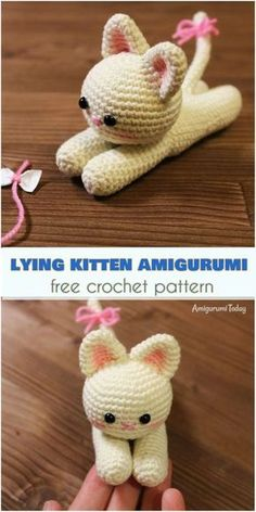 Lying kitten amigurumi pattern Have you ever noticed that cats have the magic ability to relax you? Crochet a sweet and gentle kitten to give a touch of appeasement to your days. Crochet Gratis, Crochet Patterns Amigurumi, Cute Crochet, Crochet Dolls, Crochet Birds, Crocheted Toys, Amigurumi Tutorial, Simple Crochet, Crochet Food