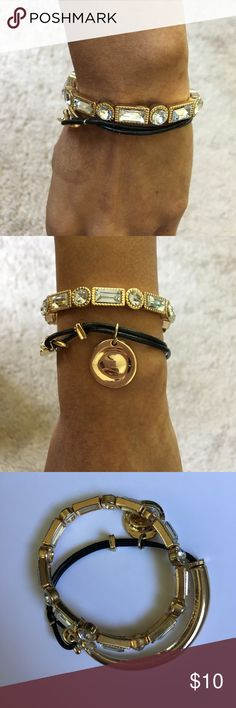 Bebe gold bundle bracelets and bangles sale!! Bebe gold bundle bracelets and two Bebe gold bangles that has been worn but still in a decent condition. I have a small wrist so they are kinda big on me. I'm selling all for $10 bebe Jewelry Bracelets