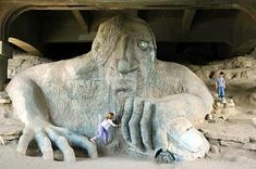 The only thing cooler than the Fremont Troll is the Fremont Troll Chia Pet. 35 Truths That Every Seattleite Is Aware Of Fremont Bridge, Under Bridge, Child Of The Universe, Chia Pet, Lake Union, Zombie Walk, Tourist Sites, Art Competitions, Roadside Attractions