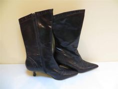"Kenneth Cole Womens Boots Brown Side Zipper Mid 2 3/4"" Heel Pre Owned #KennethCole #FashionMidCalf"