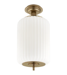 Visual Comfort TOB4264HAB-WG Thomas O'Brien Eden Semi-Flush Mount in Hand-Rubbed Antique Brass with White Glass