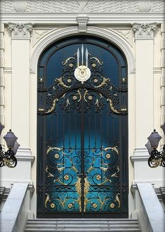 Dark blue gold gilded door