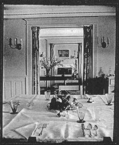 stereoscopic view circa 1934-35 view of the dining room table, set for luncheon in the grand days of Grey Gardens.