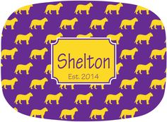 Tiger Personalized Tailgate Tray Purple and Gold Monogrammed Melamine Platter BAYOU BENGALS by Gameday Girl Designs #LSU #Tigers #SEC $30.00