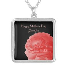 Personalized Necklace Coral Rose Mother's Day - This personalized necklace is decorated with our original photo of a beautiful coral rose on a black background. Easy to personalize or delete example text. What a wonderful Mother's Day gift. A beautiful, personalized gift at an off-the-shelf price! Original photograph by Alan and Marcia Socolik. All Rights Reserved © 2014 Alan & Marcia Socolik. #MothersDay #Coral