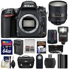 Nikon D750 Digital SLR Camera Body with 64GB Card + Battery & Charger + Case + GPS Adapter + Flash + Kit