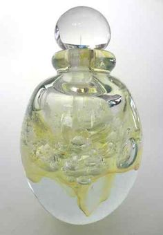 """Robert Eickholt 1999 - Crystal Bubbles Perfume Bottle, signed and dated with """"PXV 3"""" on bottom (=)"""