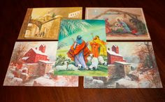 Lot of 5 Vintage Christmas Cards Envelopes Religious Christian Themed 1970s by poetsy, $4.00