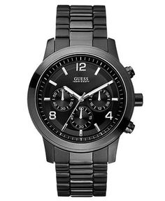 GUESS Watch, Men's Chronograph Bold Contemporary Black Ion Plated Stainless Steel Bracelet 38mm U15061G1 - Men's Watches - Jewelry & Watches...