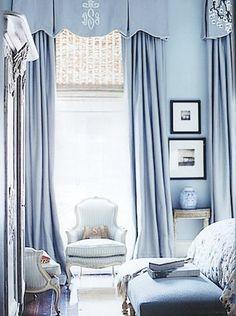 Light blue, blue on blue, drapes.