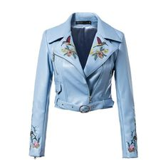 Embroidery Leather Jackets Women