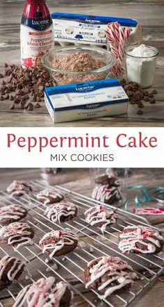 Peppermint Cake Mix Cookies - Chocolate cake mix + peppermint creamer make the PERFECT holiday cookie!!!! No beaters needed. A chewy chocolate cookie with the sweet crunch of peppermint. Gorgeous as a gift or to eat by yourself:)