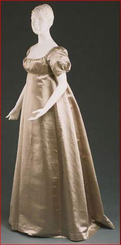 Silk Satin Wedding Dress, American Quaker, 1809.