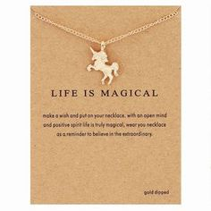 """The unicorn statement necklace was handcrafted with sturdy copper alloy material in a silver and gold color. You can choose to purchase it with our without a beautiful """"life is magical"""" statement card"""