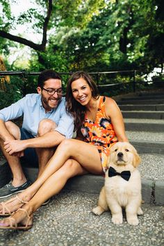 Adorable Central Park engagement session with casual style and a puppy! Engagement Couple, Engagement Pictures, Engagement Shoots, Wedding Pictures, Wedding Ideas, Couple Photography, Engagement Photography, Wedding Photography, Poses