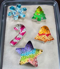 Let your kids make perler bead ornaments out of cookie cutters.