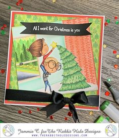 """Stamp set """"love you more"""" from The Rabbit Hole Designs. Colored in Copic Markers by Jammie Clark of Sweet Sentiment. The Little Couple, Name That Movie, Unity Stamps, Coffee Gifts, Father Christmas, Love You More, Christmas Shopping, Make You Smile, Holiday Cards"""