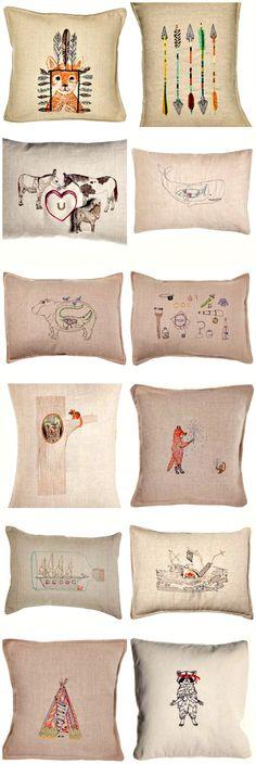 coral & tusk pillows.  @camp 1899