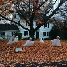 The only prescription is more Halloween - yard ghosts Happy Halloween, Halloween Tags, Vintage Halloween, Halloween Pumpkins, Fall Halloween, Halloween Party, Halloween Decorations, Yard Decorations, Creepy Halloween