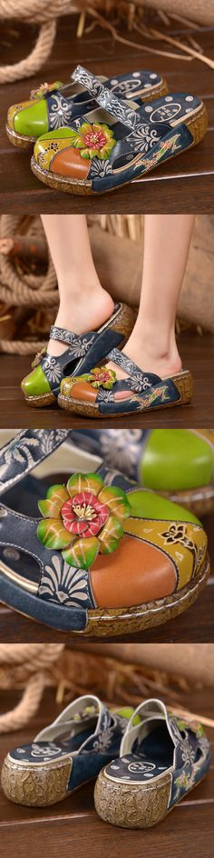 【48% OFF】#Flower Shoes  SOCOFY Vintage Colorful Leather Hollow Out Backless Flower Shoes