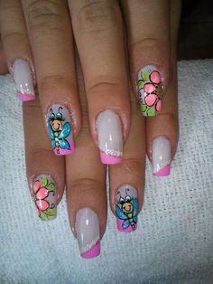 Butterflies, Nail Designs, Nail Art, Manga, Outfit, Crafts, Beauty, Nail Hacks, Designed Nails