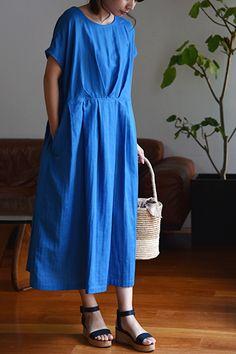★タックワンピース - パターンレーベル Couture Sewing, Cotton Crochet, Sewing Projects, Wrap Dress, Fashion Dresses, Blue And White, One Piece, Shirt Dress, Summer Dresses