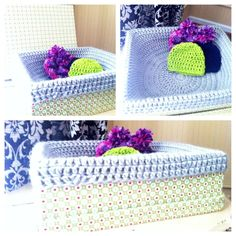 This is simply a fabric or paper covered box that you keep by your door to house beanies, scarves, gloves etc for the constantly changing weather this time of year! The one I made is to house all of the baby beanies I crochet for NICUs and pregnancy centers every time you guys order a piece from Erika Holmes Design. So start creating your own box, to house cold weather items, cards you recieve this year, or maybe a box full of vacation ideas! Whatever your heart desires just start creating!