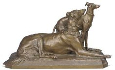 A French bronze group of a Borzoi and Whippet  AFTER GEORGES GARDET, EARLY 20TH CENTURY