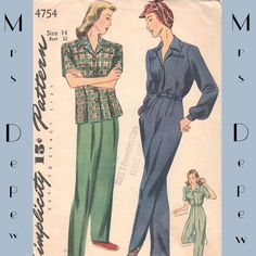 Vintage Sewing Pattern Ladies' Slack Suit and Coverall by Mrsdepew, $85.00