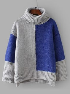 SheIn offers Colorblock D. SheIn offers Colorblock Drop Shoulder High Low Sweater & more to fit your fashionable needs. Baby Pullover, Pullover Sweaters, Color Blocking, Fall Outfits, Knitwear, High Low, Knitting Patterns, Knit Crochet, Couture