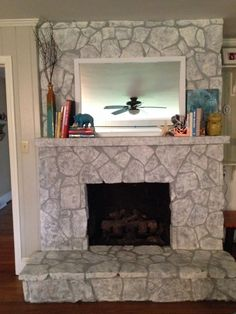 Style Erins Art And Gardens Chalk Painted Stone Fireplace on Home Decor Cool Fireplace Stone Painting Painted Rock Fireplaces, White Stone Fireplaces, Painted Stone Fireplace, Airstone Fireplace, Stone Fireplace Designs, Stone Fireplace Makeover, Stone Fireplace Surround, Fireplace Doors, Fireplace Ideas