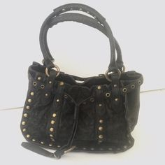 """Betsey Johnson Leather&Lace Bag Black leather bag with lace print and gold studs by Betsey Johnson. Antique gold hardware, double handles , leopard print interior with zippered pocket and multi function slip pocket. Some wear visible in hardware. Comes with dust bag. Width 11.5"""", height 8"""", Depth 5, handle drop 8"""". Betsey Johnson Bags Satchels"""