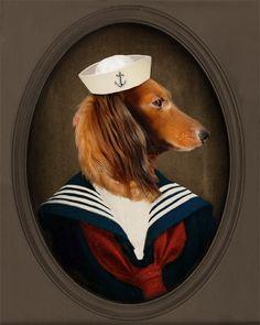 Art de teckel - teckel Doxie - marin - Photo Animal - animal Portrait personnalisé - cadeau pour Dog Lover - 8 x 10 Print - Sailor Charli