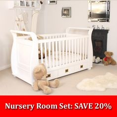 Nutkins Nursery Set - Cot, Single Wardrobe, Chest of Drawers & Baby Changer