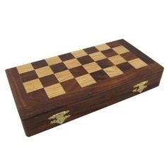 Wood chess set board & pieces unusual gifts handmade in India