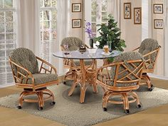 Made in USA Rattan Chiba Dining Caster Chair Table Gaming Furniture 5 Piece Set Honey Grasses Sage fabric -- You can find more details by visiting the image link.-It is an affiliate link to Amazon. #DiningSets