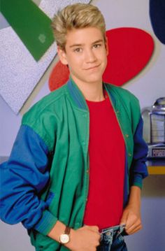Mark-Paul Gosselaar -- Gosselaar played charming schemer Zack Morris from His character had an on-off relationship with Kelly Kapowski (Tiffani Thiessen) throughout the series, eventually marrying in a TV movie. Zack Morris, House Party Outfit, Mark Paul Gosselaar, 90s Tv Shows, Love The 90s, Saved By The Bell, Hollywood, 90s Kids, 80s Fashion