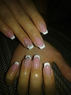 White french manicure with stones