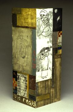 "Deborah Putnoi ""Think To"" totem mixed media on wood"