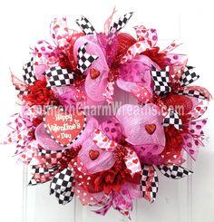 FuNkY Deco Mesh HAPPY VALENTINE Wreath Pink Red Black Checked Heart Door Wreath.